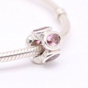 PANDORA Sterling Silver/ Pink Oval Lights CZ Charm
